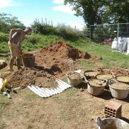 Préparation du mortier terre